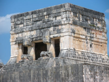 Seat of the High Priest at the ruins of Chichen Itza, Yucatan, Mexico