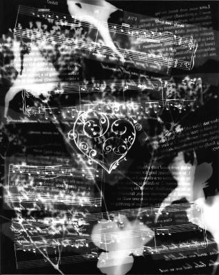 "photogram, with flowers and definitions of ""love"" inspired words"